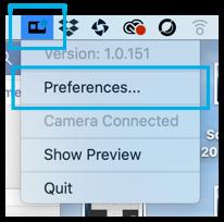 """Imagem indicando """"Preferences"""" para configuração da resolução de imagem na webcam GoPro HERO8 Black"""