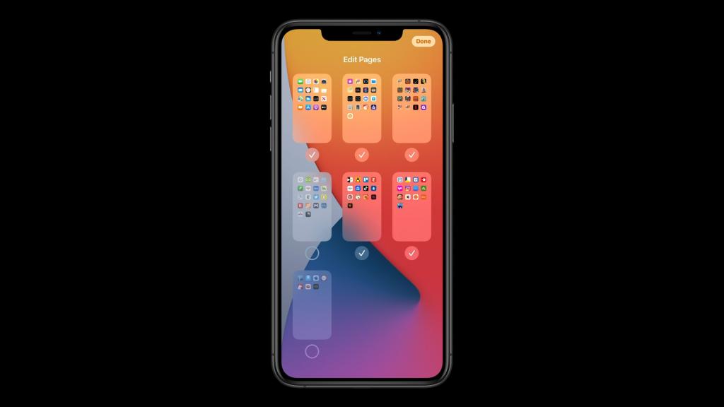 Tela de edição de páginas da Biblioteca de Apps do iOS 14.