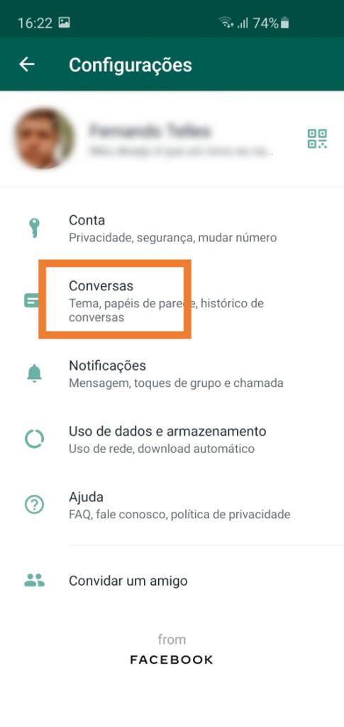Ativando backup no google drive - passo 2