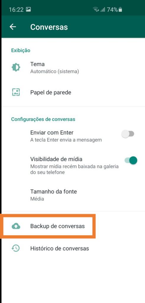 Ativando backup no google drive - passo 3