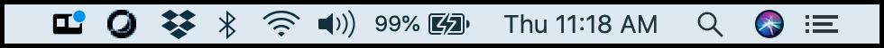 Barra de status com sinal azul no ícone da gopro indicando que a câmera foi conectada ao macos