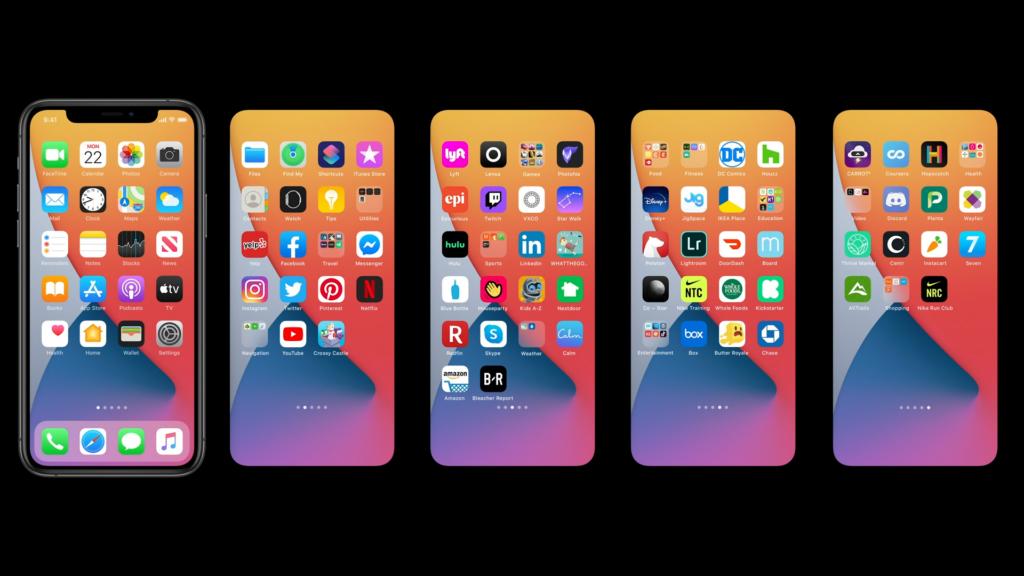 Imagem mostra cinco páginas da Tela Inicial do iPhone, lado a lado, com fileiras de ícones e algumsas pastas.