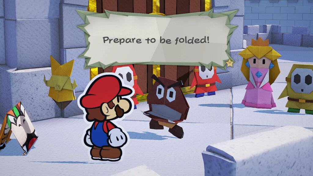 Mario contra um Goomba de papel