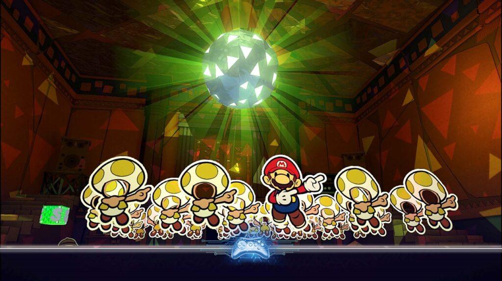 Mario dançando com Toads