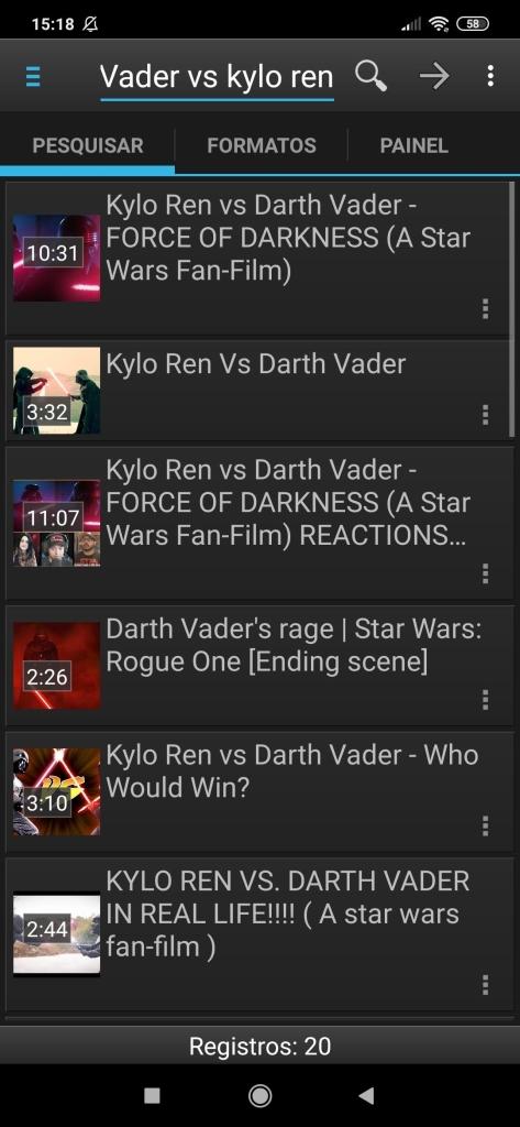 Pesquisando vídeos no app