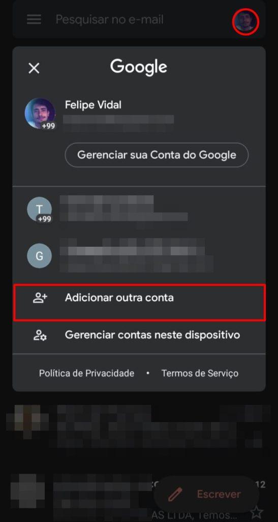 Adicione outras contas no gmail pelo smartphone