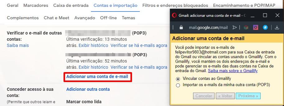 O Gmail aceita contas como Outlook e Yahoo.