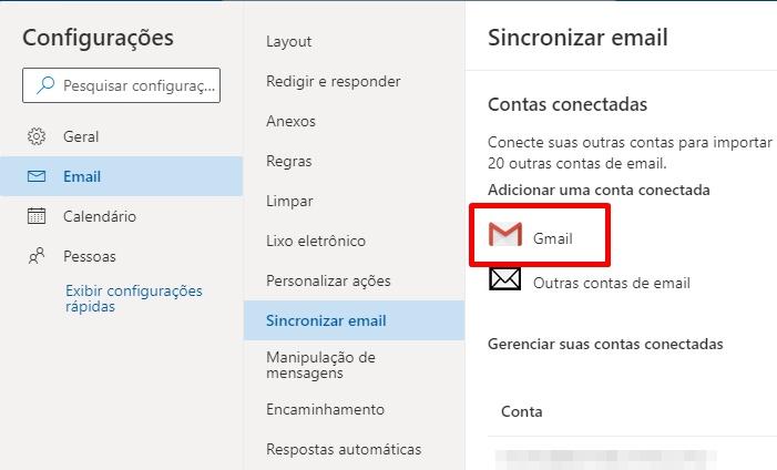 Acesse o Gmail pela sua conta do Outlook.