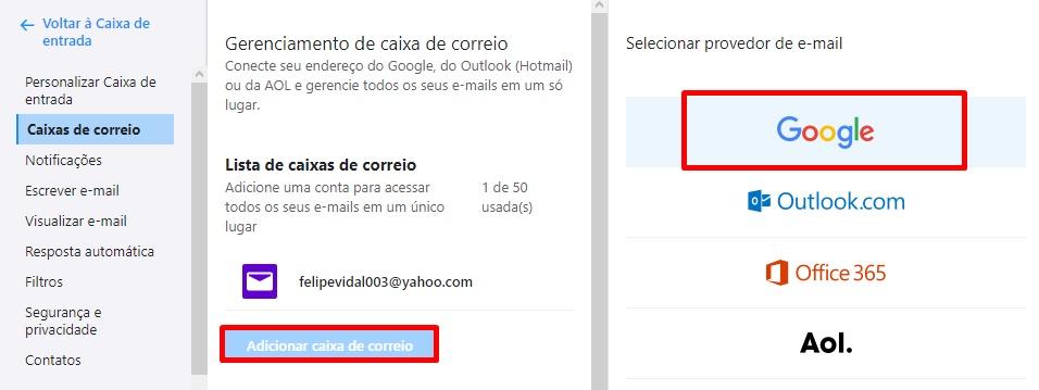 Acesse o Gmail através do Yahoo! Mail.