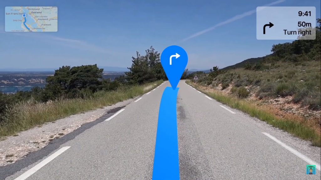 App Mapas no Apple Glass