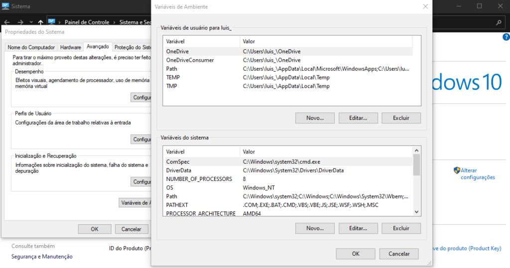 Tela de variáveis de ambiente do windows