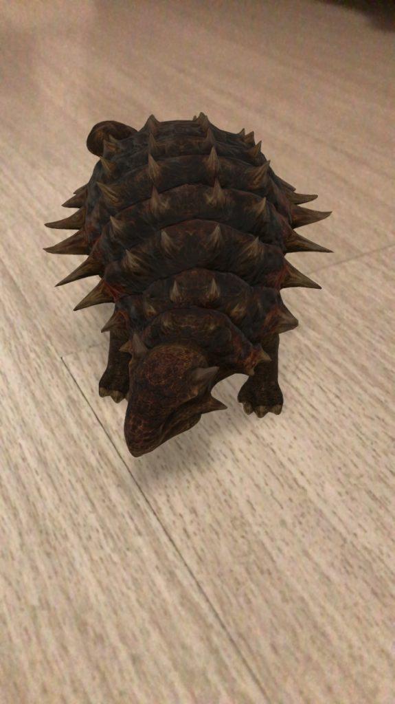 O dinossauro ankylosauriafaz parte da lista de animais 3d no google