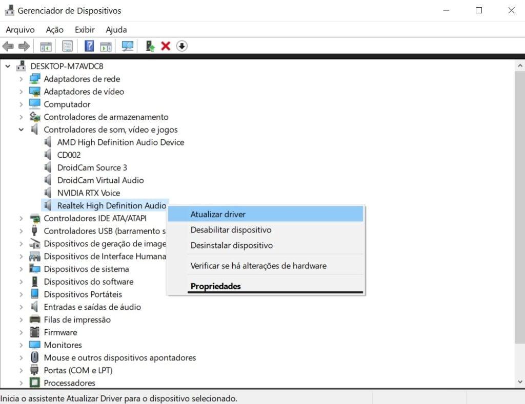No gerenciador de dispositivos, clique com o botão direito do mouse no drive desejado e atualize-o.