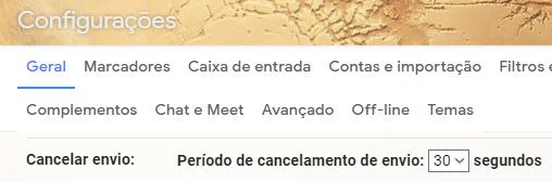 """Procure o """"Cancelar Envio"""" nas configurações."""