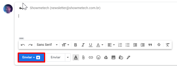 Na caixa de texto das respostas, o botão enviar será atrelado ao de arquivar.
