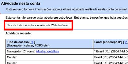 Clique no botão para sair de todas as sessões da Web do Gmail.