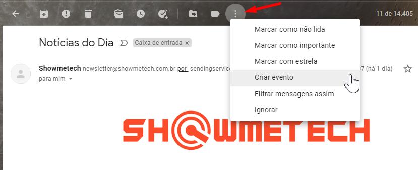 Crie um evento no Gmail.