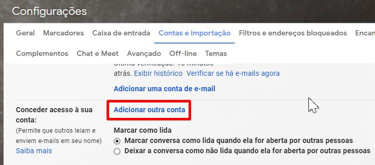 Garanta acesso para outra pessoa controlar seu Gmail.