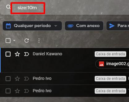 Use o comando size:xm para pesquisar e excluir arquivos grandes demais no Gmail.