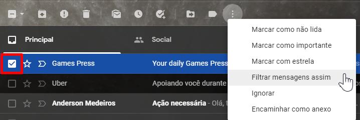 Filtre mensagens parecidas no Gmail.