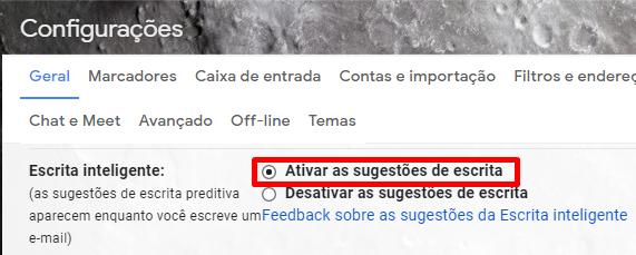 Ative e opção de Escrita Inteligente nas configurações do Gmail.