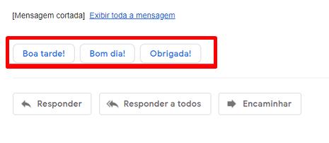 A resposta inteligente te dá três opções para responder rapidamente o seu email.