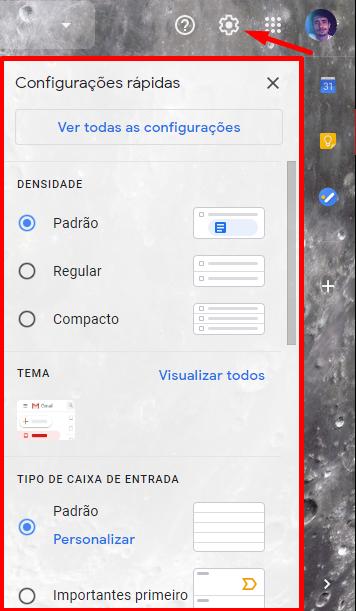 Clique no ícone de configurações (engrenagem) e escolha o layout que mais te agrada.