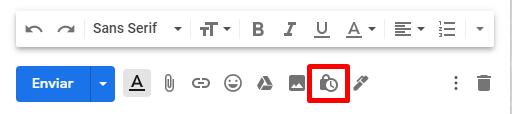Na barra de texto, clique no ícone do cadeado para entrar no painel do modo confidencial.