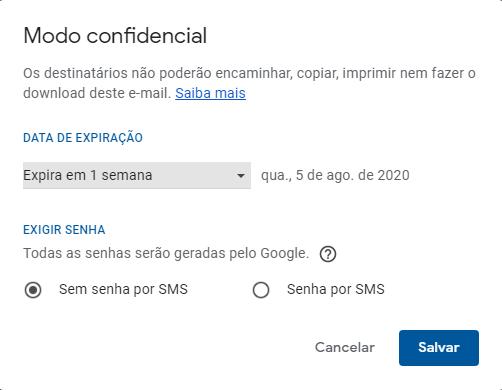 No modo confidencial você pode enviar uma senha para o celular do destinatário.