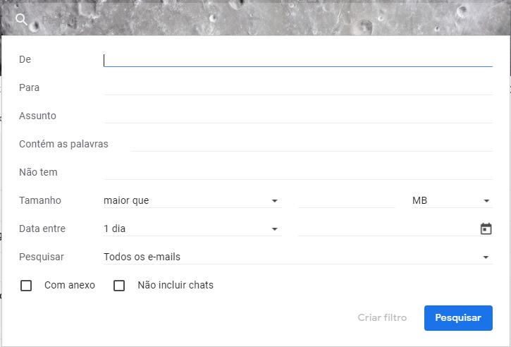 Aba de pesquisa avançada do Gmail.