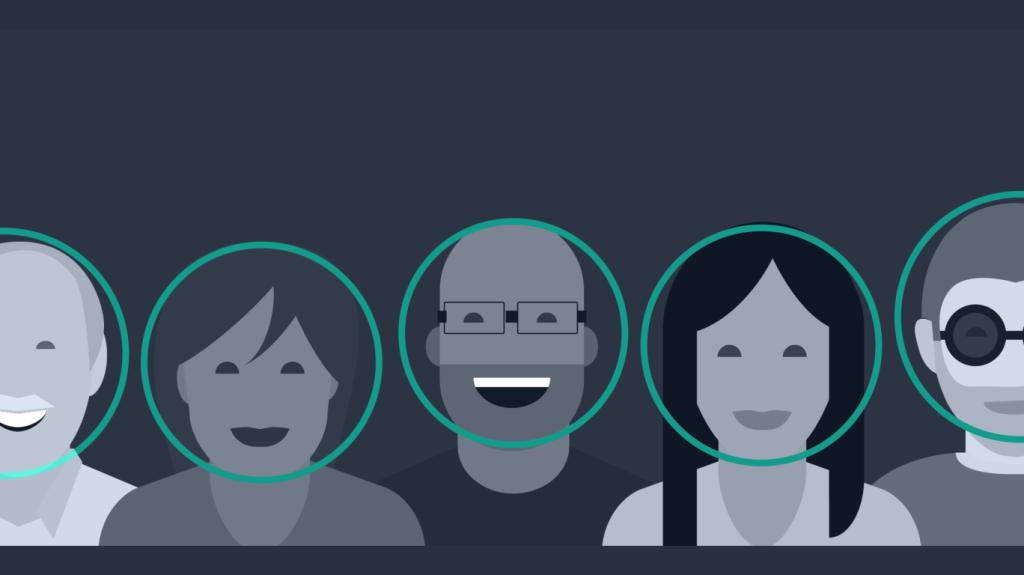 Uma ilustração com vários personagens passando pelo processo de reconhecimento facial