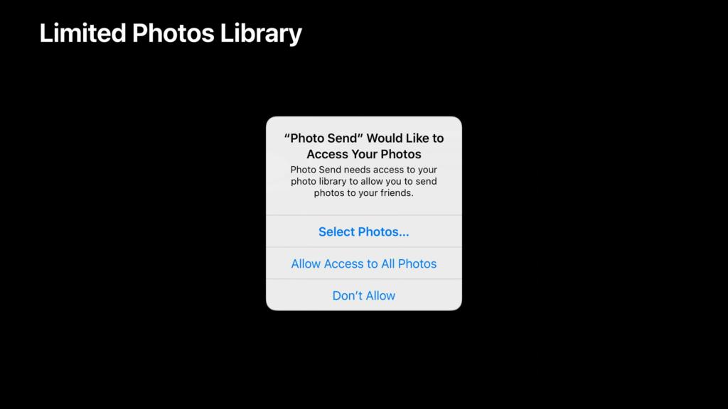A imagem mostra a nova popup de solicitação de acesso às fotos. O texto diz que o aplicativo de compartilhamento de fotos photo send precisa de acesso à sua biblioteca de fotos para permitir o envio de fotos para amigos. As opções apresentadas são selecionar fotos, permitir acesso a todas as fotos e não permitir.