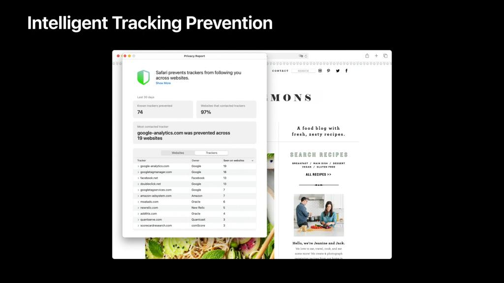 Imagem mostra o relatório de privacidade do safari no macos. Ele inclui a informação de que 74 rastreadores foram prevenidos, 97% dos sites acessados continham rastreadores e uma lista com os rastreadores mais comuns.