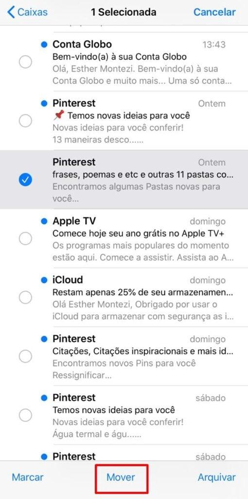 Transfira mensagem entre contas no iPhone