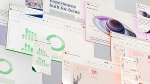 Imagem mostrando a nova interface do Microsoft Office, com um design intuitivo que expressa a suavidade do conteúdo, espalhado em vários pequenos quadros de cores vermelha, azul e verde