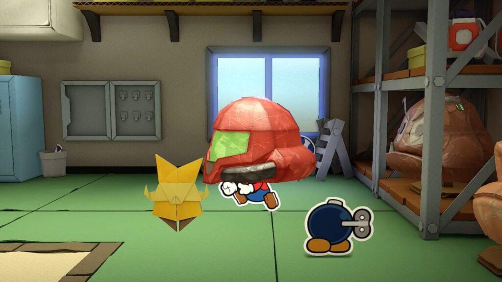 Mario com o capacete de Super Metroid