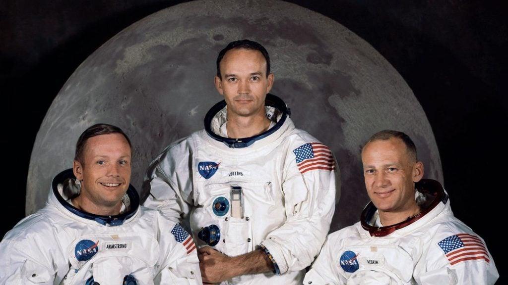 Michael Collins, Buzz Aldrin e Neil Armstrong em foto da missão do Apollo 11
