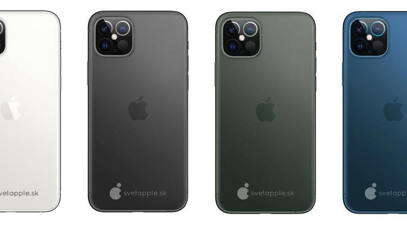 Suposto iPhone 12 em várias cores em concordância com o vazamento das datas de lançamento dele e de outros produtos da Apple, nas cores verde escuro, preto, azul escuro e branco