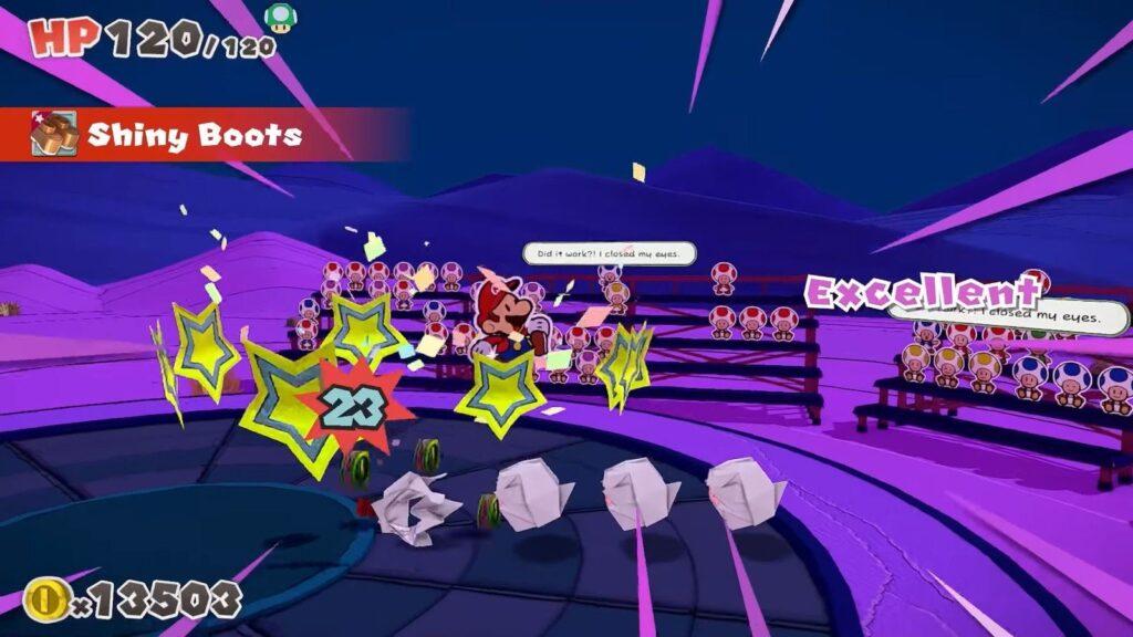Paper Mario lutando contra Boos