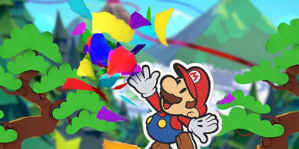 Paper Mario jogando confete