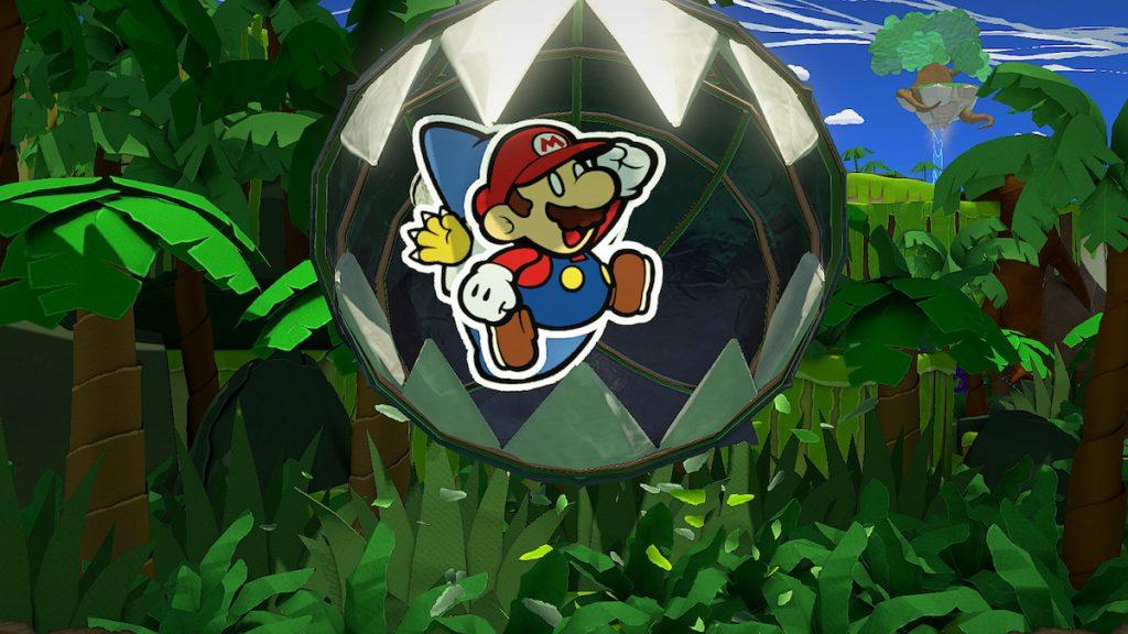 Mario fugindo de um Chomp-Chomp