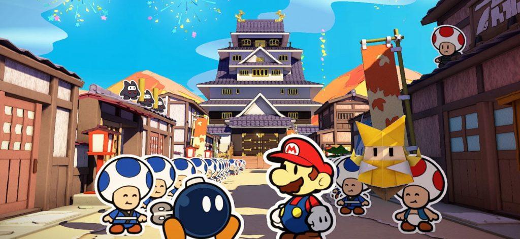 Mario e seus amigos em um reino com inspiração japonesa