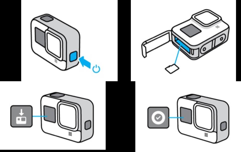 Imagem ilustrando inserção do cartão microSD na câmera GoPro Hero8