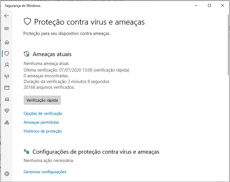 Verificação manual no windows defender