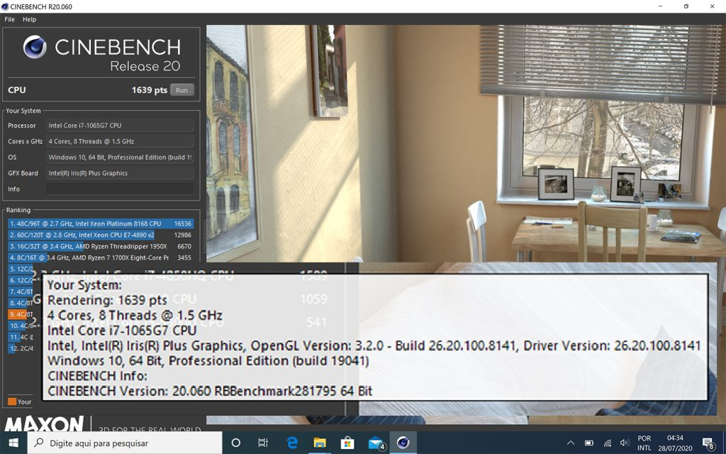 Testes de benchmark do cinema 4d xps 13