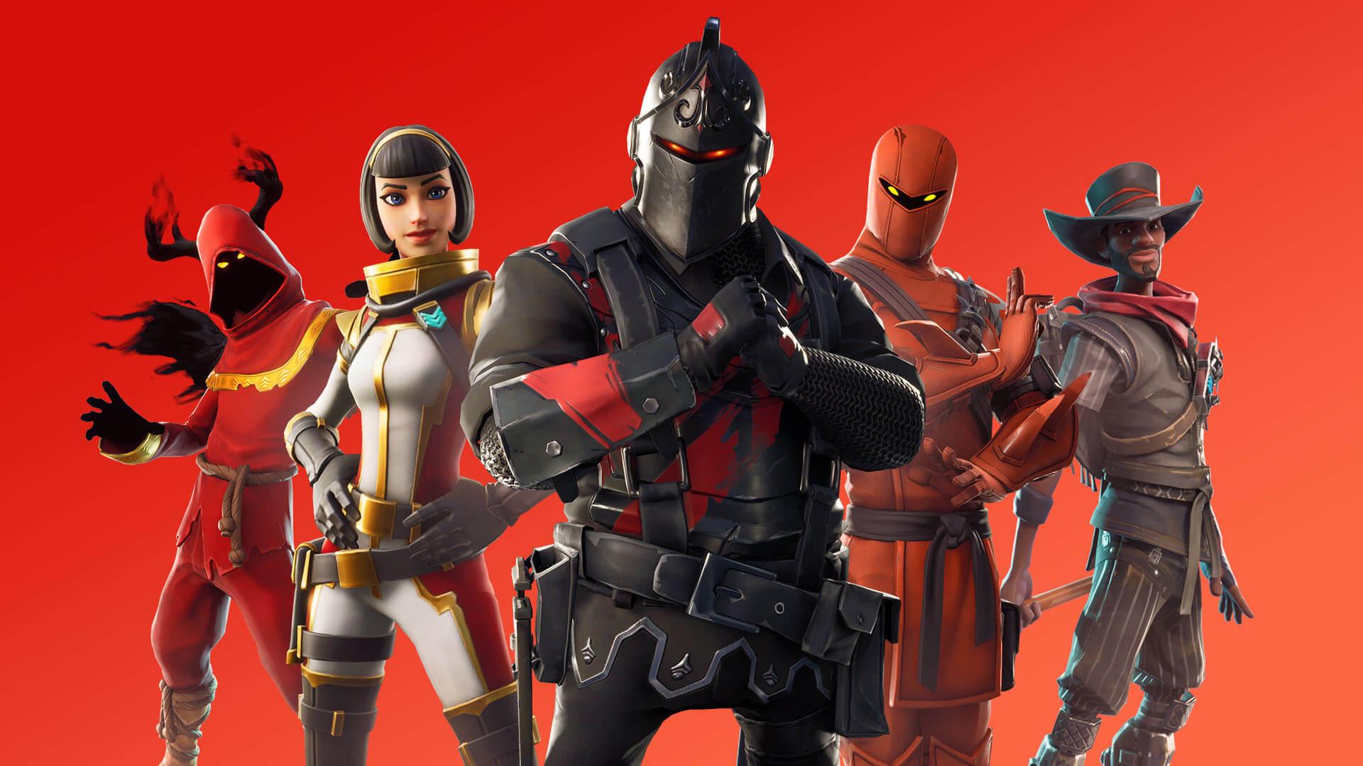 Fundo vermelho com cinco personagens de fortnite na frente, sendo um cavaleiro vestido de preto e veremlho, um ninja vestido de vermelho claro, uma astronauta de branco, dourado e vermelho, um coubói de marrom e vermelho e uma espécie de mago com chifres pretos e túnica vermelha