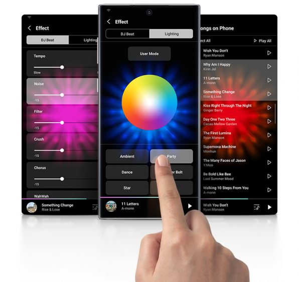 O app giga party audio também controla a mt-x55 diretamente pelo smartphone (imagem: divulgação/samsung)