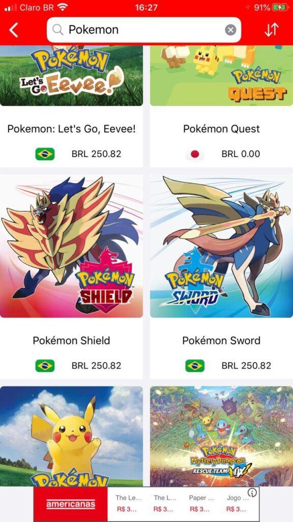 Captura de tela do gameshopper no iphone.