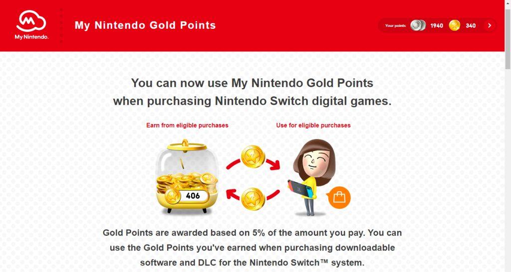 A página do my nintendo explica, em inglês, como funcionam as moedas douradas.