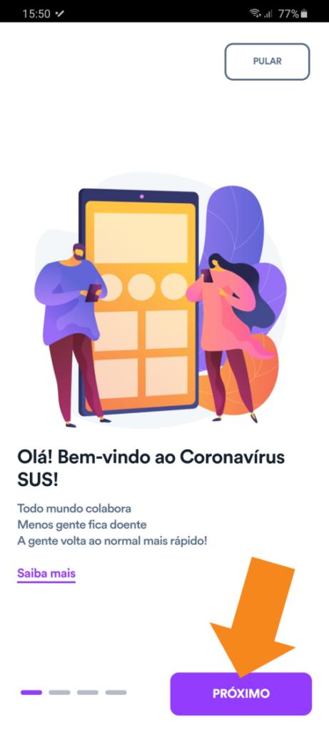 App coronavirus sus - 2 - tela de boas vindas